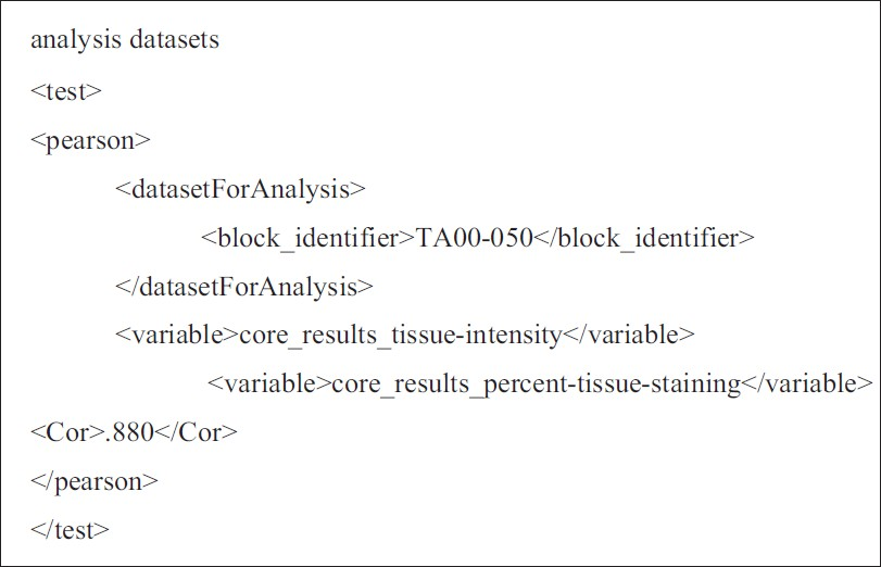 Figure 5: Example of XML describing inputs to a Pearson's Correlation test and the test results