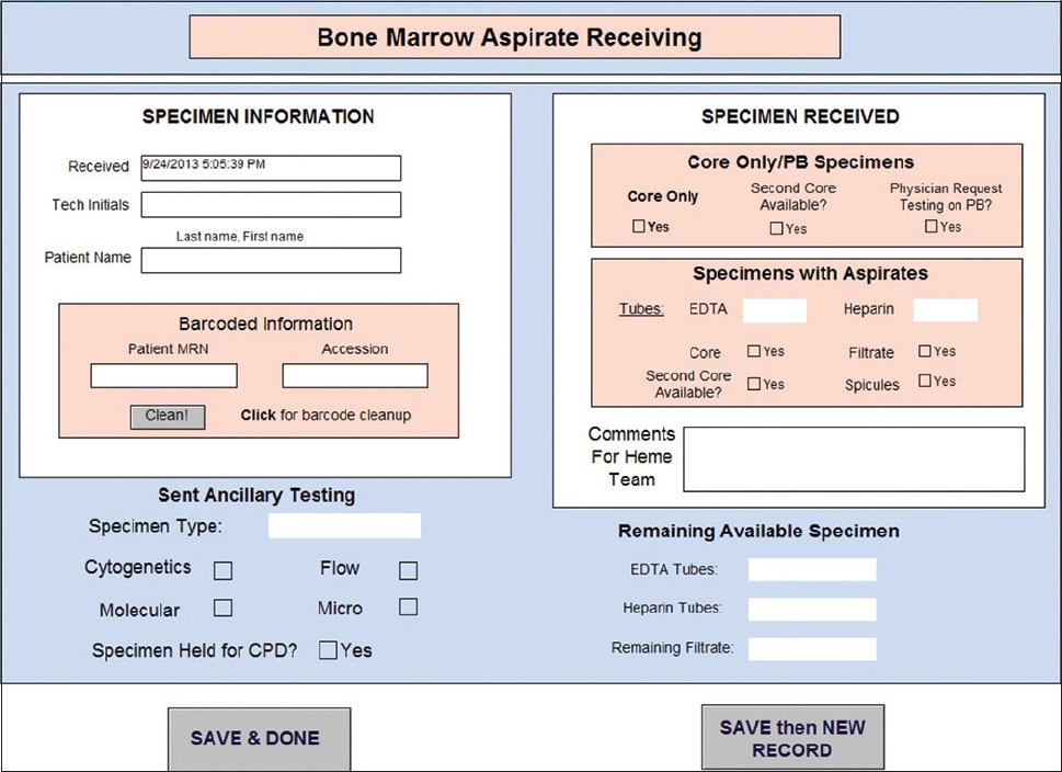 Figure 3: Technologist view. The technologist can input specimen information into the database, including specimen redirection and remaining specimen